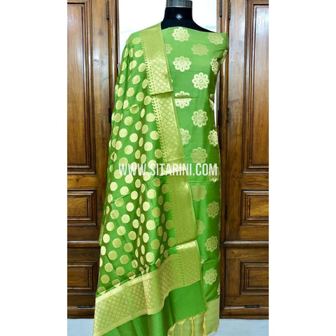 Banarasi Silk Cotton Dress Material(3pcs)-Green-Sitarini-SITBCSDM115