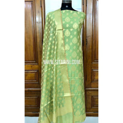 Banarasi Silk Cotton Dress Material(3pcs)-Green-Sitarini-SITBCSDM122