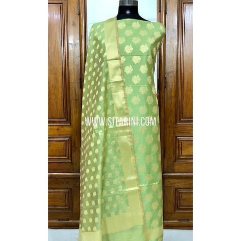 Banarasi Silk Cotton Dress Material(3pcs)-Green-Sitarini-SITBCSDM123