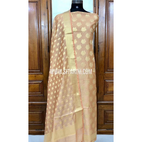 Banarasi Silk Cotton Dress Material(3pcs)-Light Peach-Sitarini-SITBCSDM117