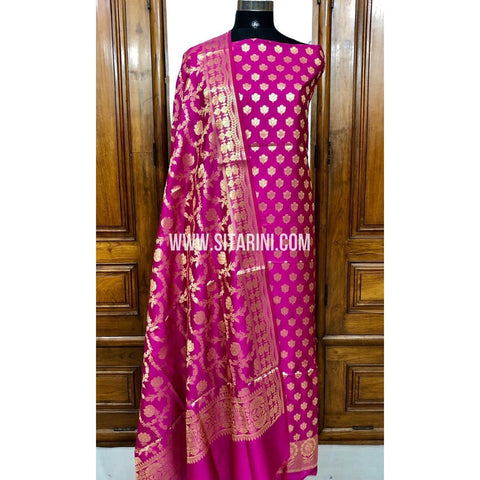 Banarasi Silk Cotton Dress Material(3pcs)-Magenta-Sitarini-SITBCSDM109