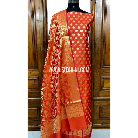 Banarasi Silk Cotton Dress Material(3pcs)-Orange-Sitarini-SITBCSDM112