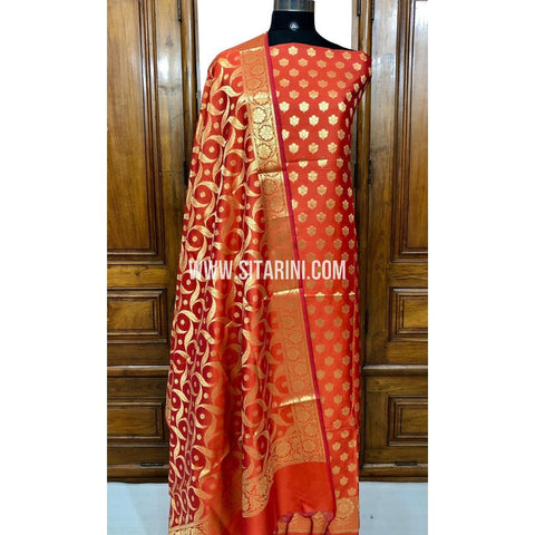 Banarasi Silk Cotton Dress Material(3pcs)-Orange-Sitarini-SITBCSDM113