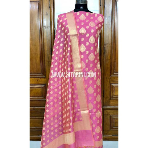 Banarasi Silk Cotton Dress Material(3pcs)-Pink-Sitarini-SITBCSDM120