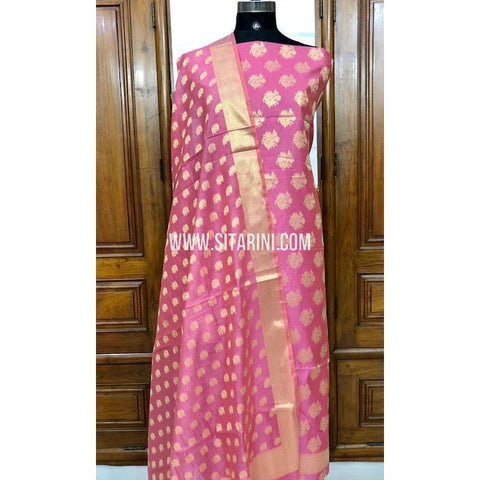 Banarasi Silk Cotton Dress Material(3pcs)-Pink-Sitarini-SITBCSDM121