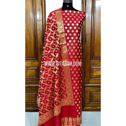 Banarasi Silk Cotton Dress Material(3pcs)-Red-Sitarini-SITBCSDM111