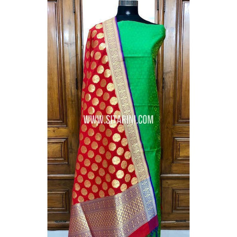 Banarasi Silk Cotton Dress Material(3pcs)-Sitarini-SITBCSDM100