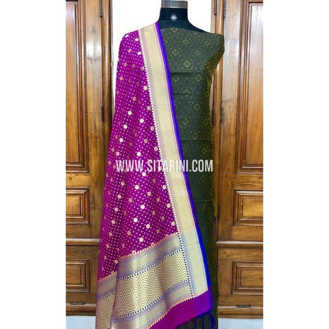 Banarasi Silk Cotton Dress Material(3pcs)-Sitarini-SITBCSDM101