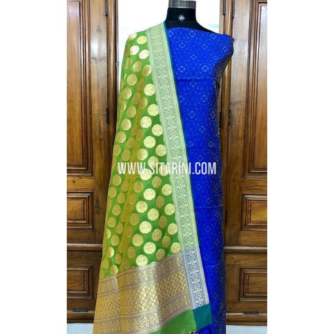 Banarasi Silk Cotton Dress Material(3pcs)-Sitarini-SITBCSDM102