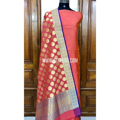 Banarasi Silk Cotton Dress Material(3pcs)-Sitarini-SITBCSDM103