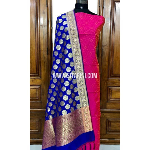 Banarasi Silk Cotton Dress Material(3pcs)-Sitarini-SITBCSDM104