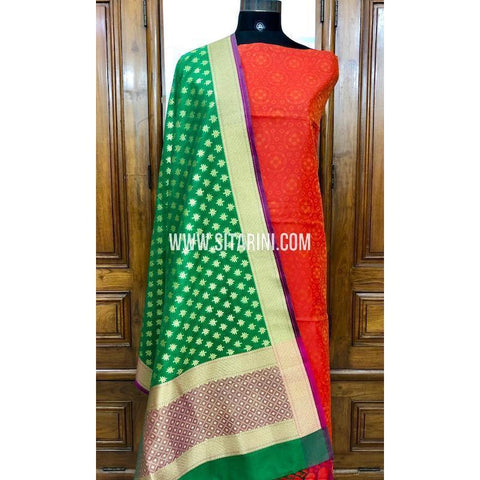 Banarasi Silk Cotton Dress Material(3pcs)-Sitarini-SITBCSDM105
