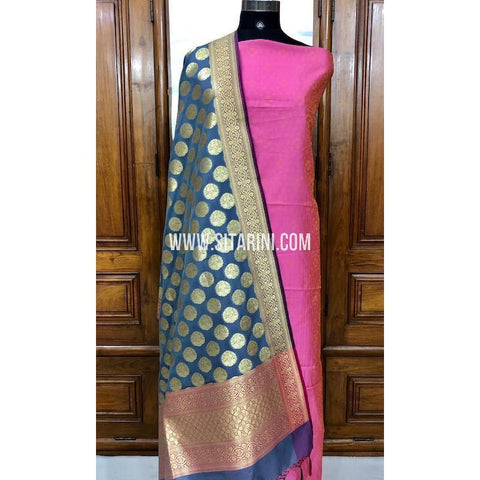 Banarasi Silk Cotton Dress Material(3pcs)-Sitarini-SITBCSDM106