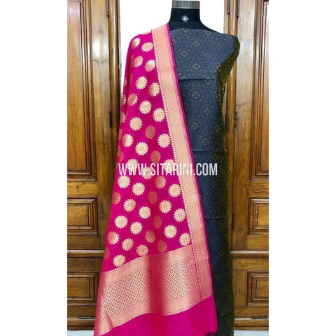 Banarasi Silk Cotton Dress Material(3pcs)-Sitarini-SITBCSDM107