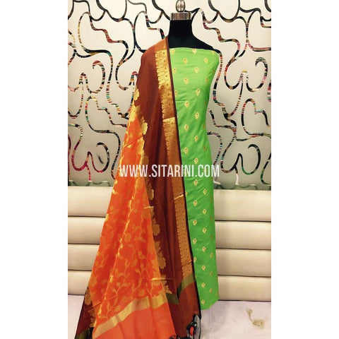 Banarasi Silk Cotton Dress Material(3pcs)-Sitarini-SITBCSDM113