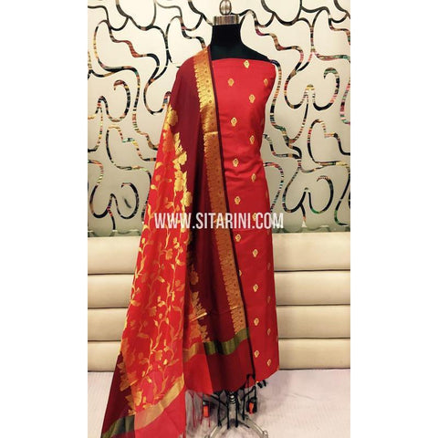 Banarasi Silk Cotton Dress Material(3pcs)-Sitarini-SITBCSDM114