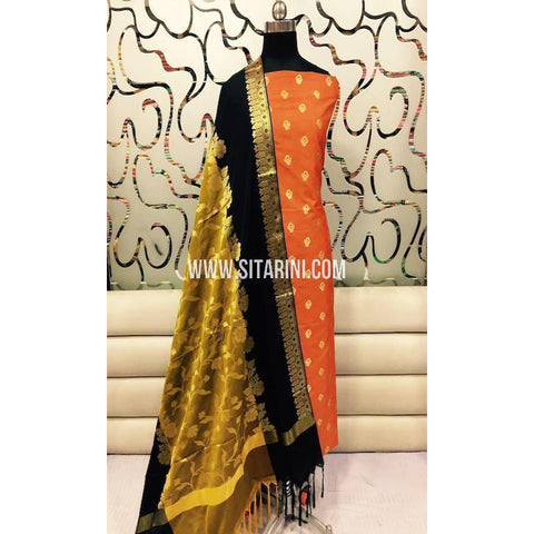 Banarasi Silk Cotton Dress Material(3pcs)-Sitarini-SITBCSDM115