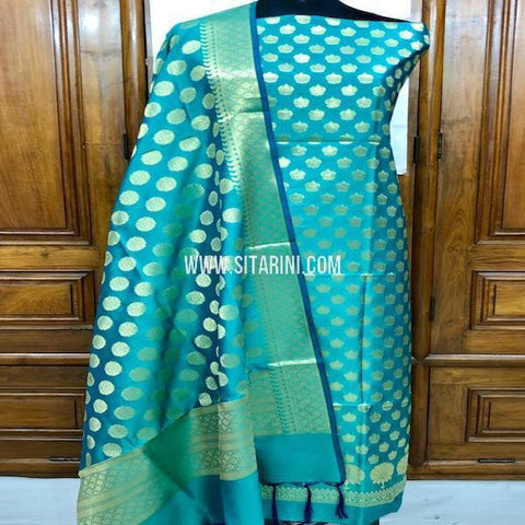 Banarasi Silk Cotton Dress Material(3pcs)-Sitarini-SITBCSDM124