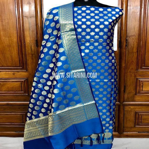 Banarasi Silk Cotton Dress Material(3pcs)-Sitarini-SITBCSDM125
