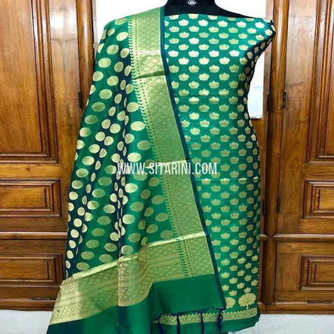 Banarasi Silk Cotton Dress Material(3pcs)-Sitarini-SITBCSDM126