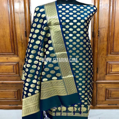 Banarasi Silk Cotton Dress Material(3pcs)-Sitarini-SITBCSDM127
