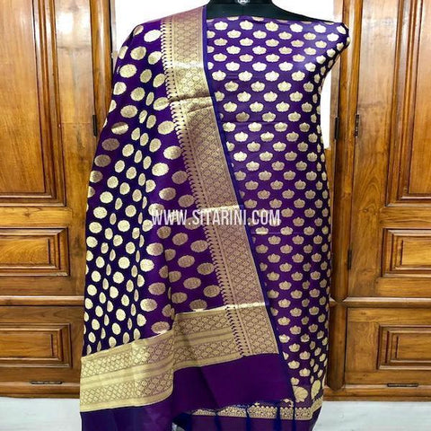 Banarasi Silk Cotton Dress Material(3pcs)-Sitarini-SITBCSDM131