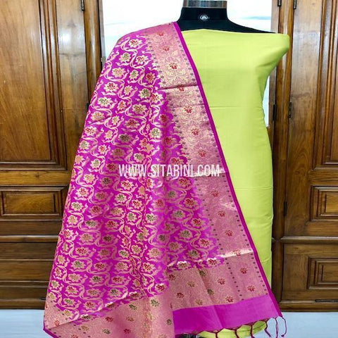 Banarasi Silk Cotton Dress Material(3pcs)-Sitarini-SITBCSDM137
