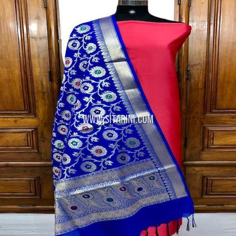 Banarasi Silk Cotton Dress Material(3pcs)-Sitarini-SITBCSDM138