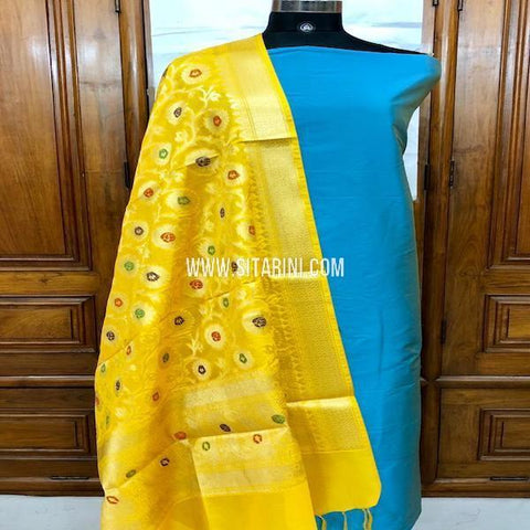 Banarasi Silk Cotton Dress Material(3pcs)-Sitarini-SITBCSDM139
