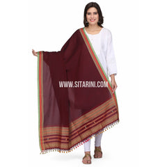Bhujodi Cotton Dupatta cum Stole with Pom Pom Endings-Red-Sitarini-LWTCD131