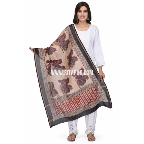 Chaderi Silk Cotton Dupattas-Brown-Sitarini-LWTSCD122