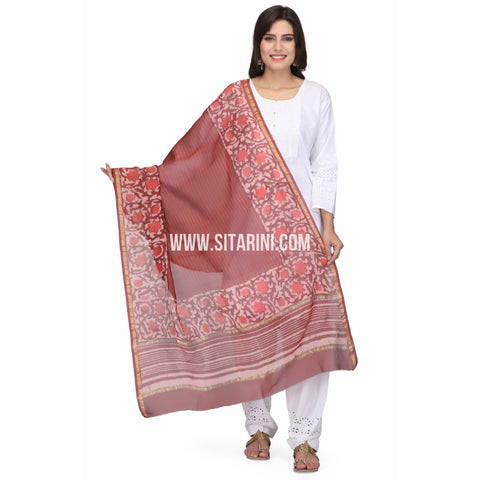 Chaderi Silk Cotton Dupattas-Red-Sitarini-LWTSCD119