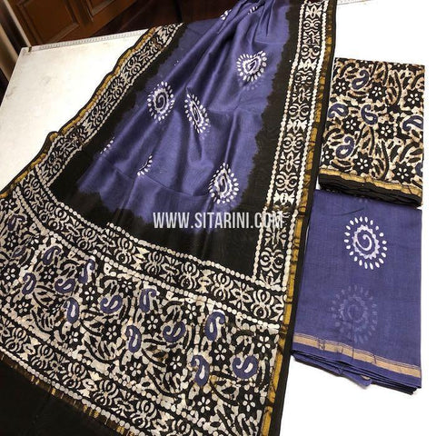 Chanderi Cotton Silk Dress Material-Multicolor-Sitrarini-SITCCSDM130