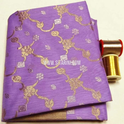 Chanderi Cotton Silk Saree-Lavender-Sitarini-SITCSCS116