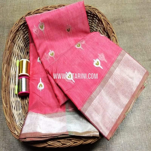 Chanderi Cotton Silk Saree-Pink-Sitarini-SITCSCS118
