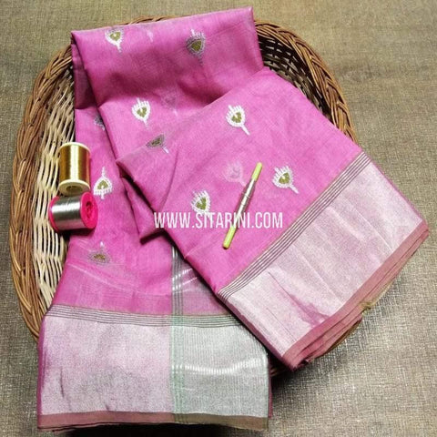 Chanderi Cotton Silk Saree-Purple-Sitarini-SITCSCS117