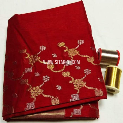 Chanderi Cotton Silk Saree-Red-Sitarini-SITCSCS115