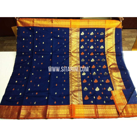 Chanderi Pattu Saree-Blue-Sitarini-SITCSS121