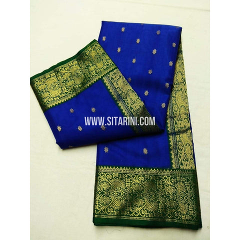 Chanderi Pattu Saree-Blue-Sitarini-SITCSS124