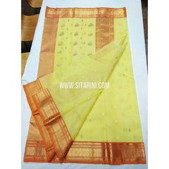 Chanderi Pattu Saree-Lemon Yellow-Sitarini-SITCSS134