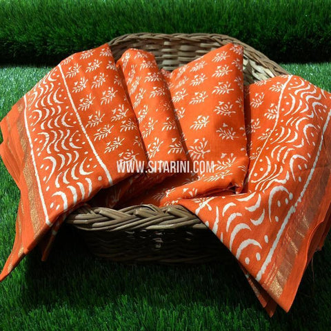 Chanderi Printed Cotton Silk Saree-Orange-Sitarini-SITCSCS121
