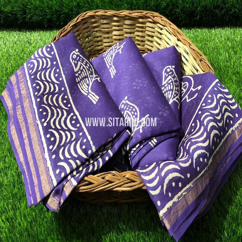 Chanderi Printed Cotton Silk Saree-Violet-Sitarini-SITCSCS122
