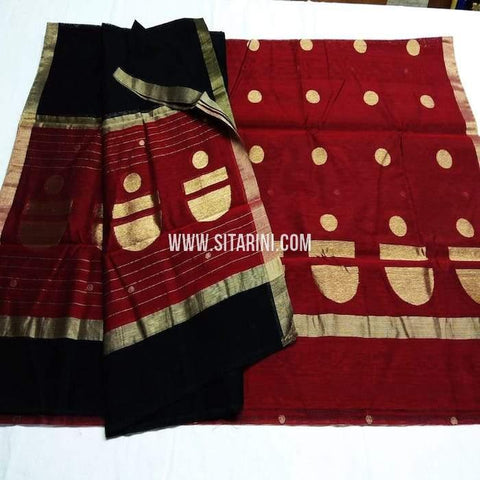 Chanderi Silk Cotton Dress Material-Maroon-Sitrarini-SITCCSDM113