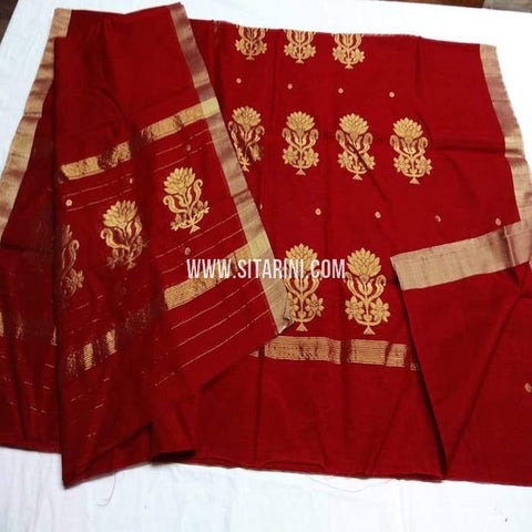 Chanderi Silk Cotton Dress Material-Red-Sitrarini-SITCCSDM115