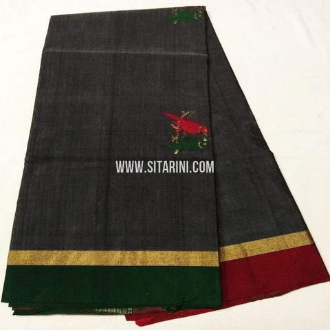 Chanderi Silk Cotton Dupatta-Black-Sitarini-SITCCSD128