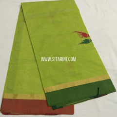 Chanderi Silk Cotton Dupatta-Green-Sitarini-SITCCSD123