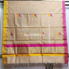 Chanderi Silk Cotton Dupatta-Light Peach-Sitarini-SITCCSD113