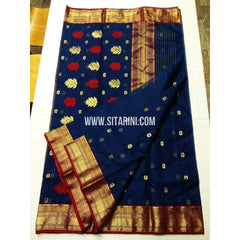 Chanderi Silk Saree-Navy Blue-Sitarini-SITCSS142