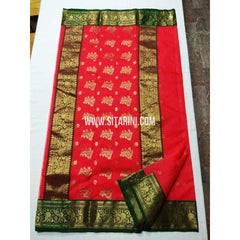 Chanderi Silk Saree-Red-Sitarini-SITCSS105