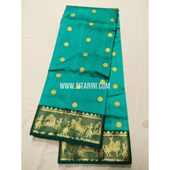 Chanderi Silk Saree-Skyblue-Sitarini-SITCSS113
